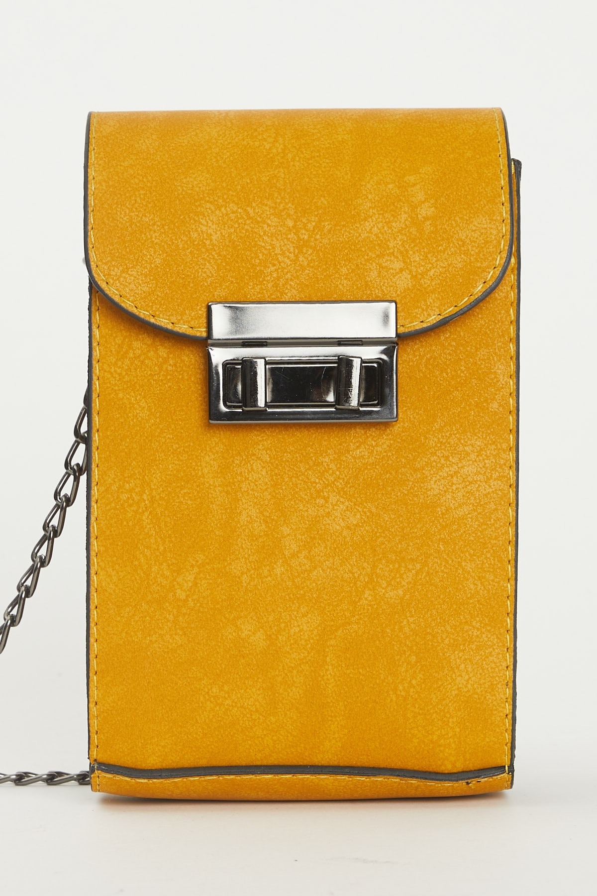 Tonny Black Kadın Sarı Kutu Kilit Ve Zincir Detaylı Çapraz Çanta 1