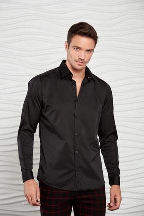 Mondo Erkek Siyah Kolu Nervürlü Dokuma Gömlek