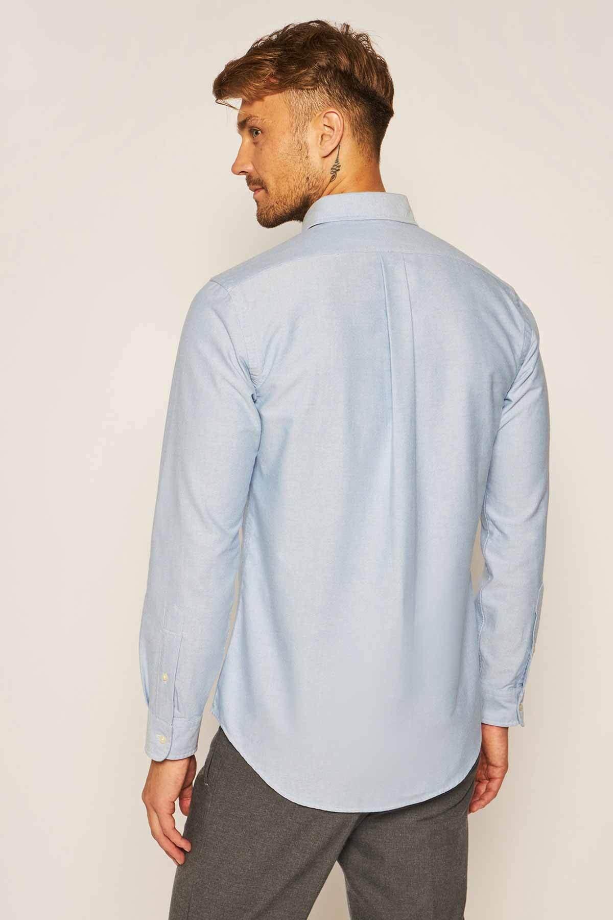 Polo Ralph Lauren Erkek Mavi Fit Oxford Gömlek 2