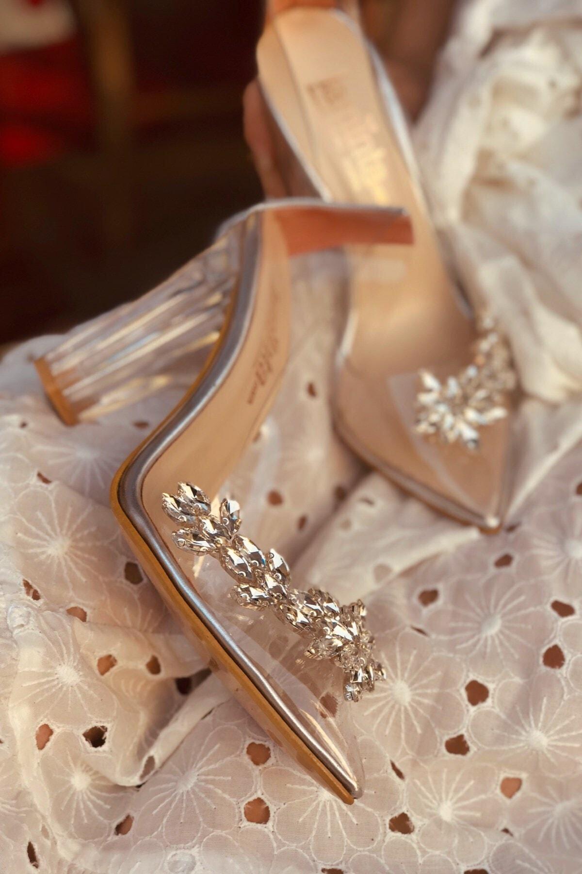 LAMİNTA Princess Gümüş Şeffaf Kadın Topuklu Ayakkabı 1
