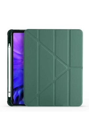"""Fibaks Apple Ipad Air 3 10.5"""" Kalem Bölmeli Tri Folding Smart Standlı Deri Arkası Yumuşak Silikon Kılıf"""