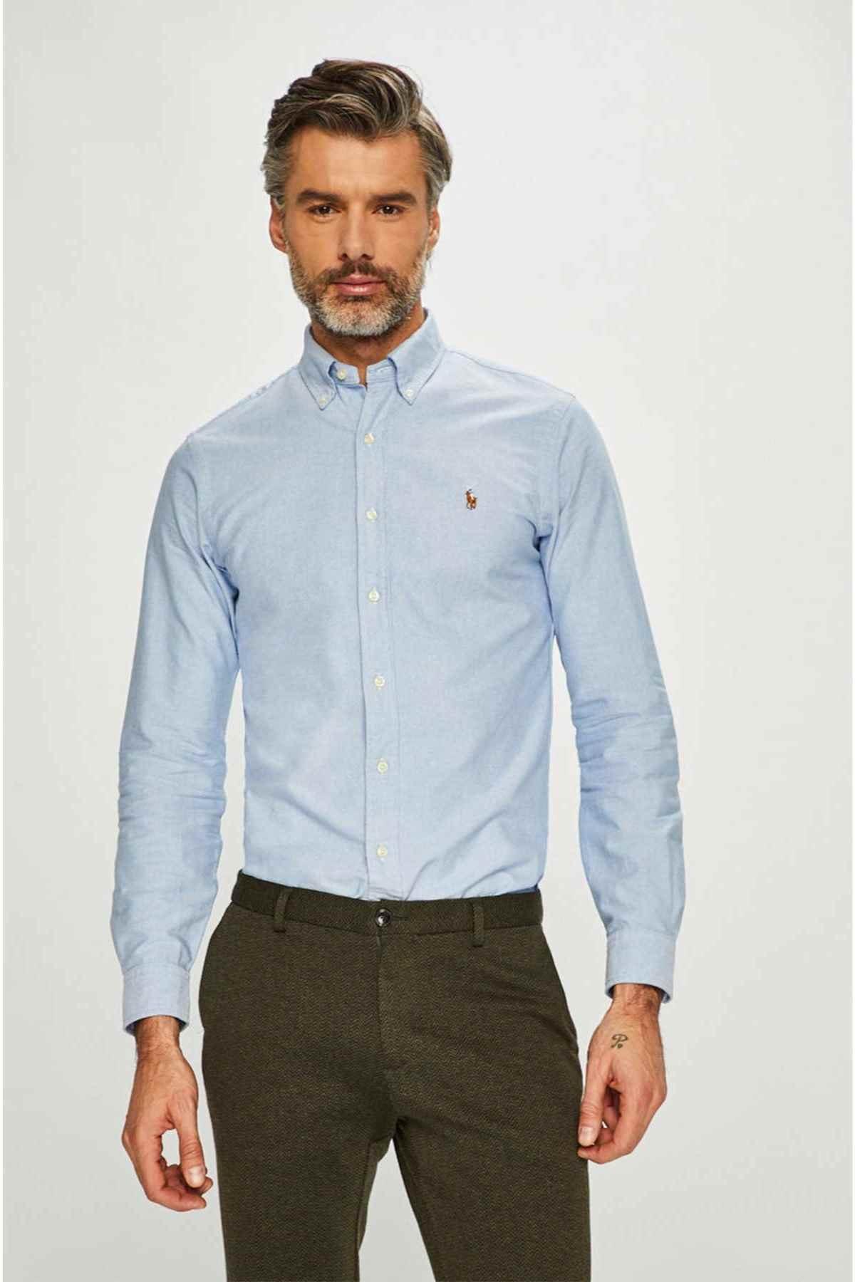 Polo Ralph Lauren Erkek Mavi Slim Fit Oxford Gömlek 1