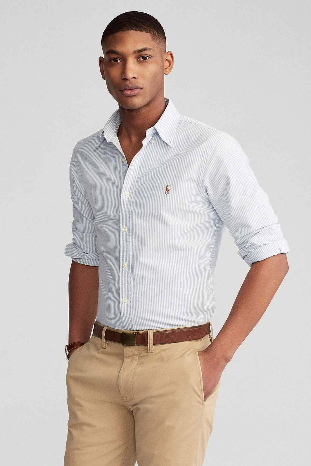 Polo Ralph Lauren Erkek Gri Slim Fit Oxford Gömlek 1