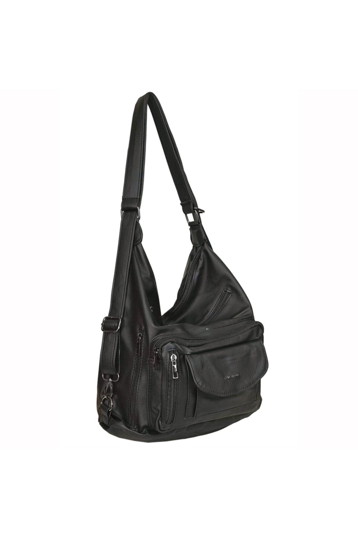 Just Polo Kadın Siyah Çanta Yumuşak Suni Deri Sırt Omuz Ve Çapraz 1