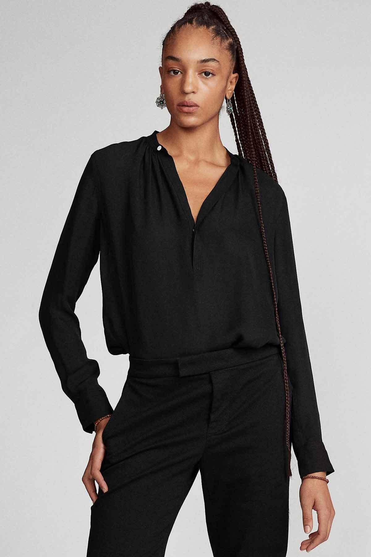 Polo Ralph Lauren Kadın Siyah V Yaka Ipek Gömlek 1