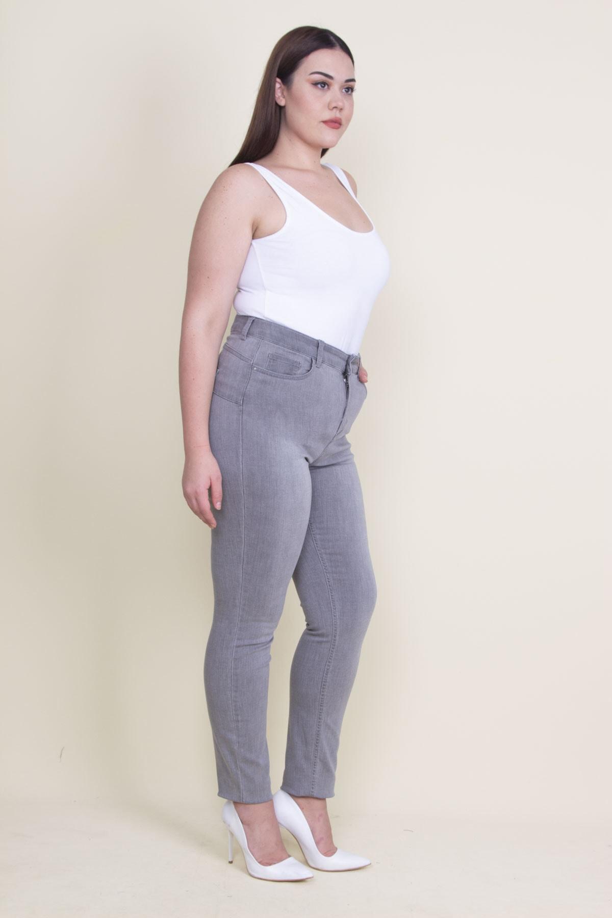 Şans Kadın Gri 5 Cepli Kot Pantolon 65N21099 2