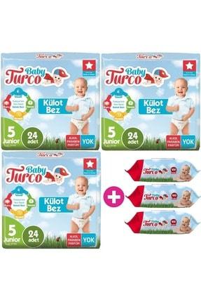 Baby Turco Külot Bebek Bezi Jumbo Beden:5 (12-25kg) Junior 72 Adet + 3 Pk Islak Mendil 100 Yaprak