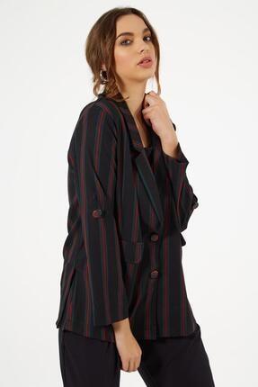 Y-London Kadın Siyah Çizgili Süs Cep Kapaklı Ceket Y19w109-38003