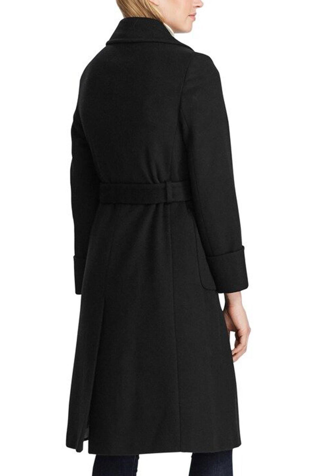 Polo Ralph Lauren Kadın Siyah Belden Kuşaklı Kaşmirli Palto 2