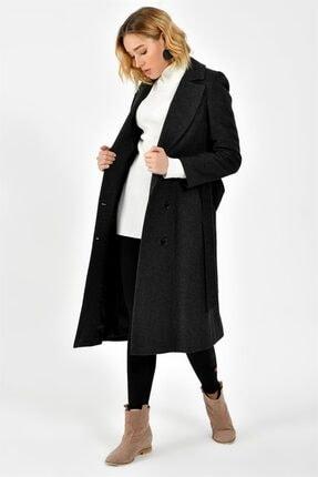 Dewberry Kadın Desenli Siyah Palto - 1160001Z6377..