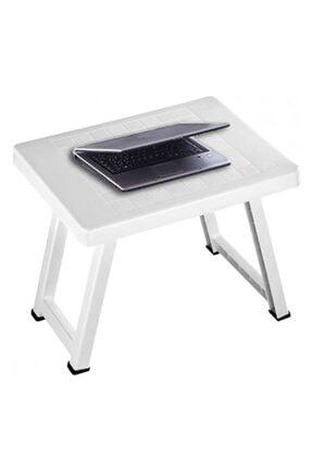 ScorpLion Beyaz Plastik Portatif Katlanabilir Küçük Boy Piknik  Katlanır Plastik Sehpa Masa