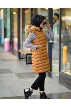 Eyyo Kadın Açık Hardal Uzun Şişme Yelek