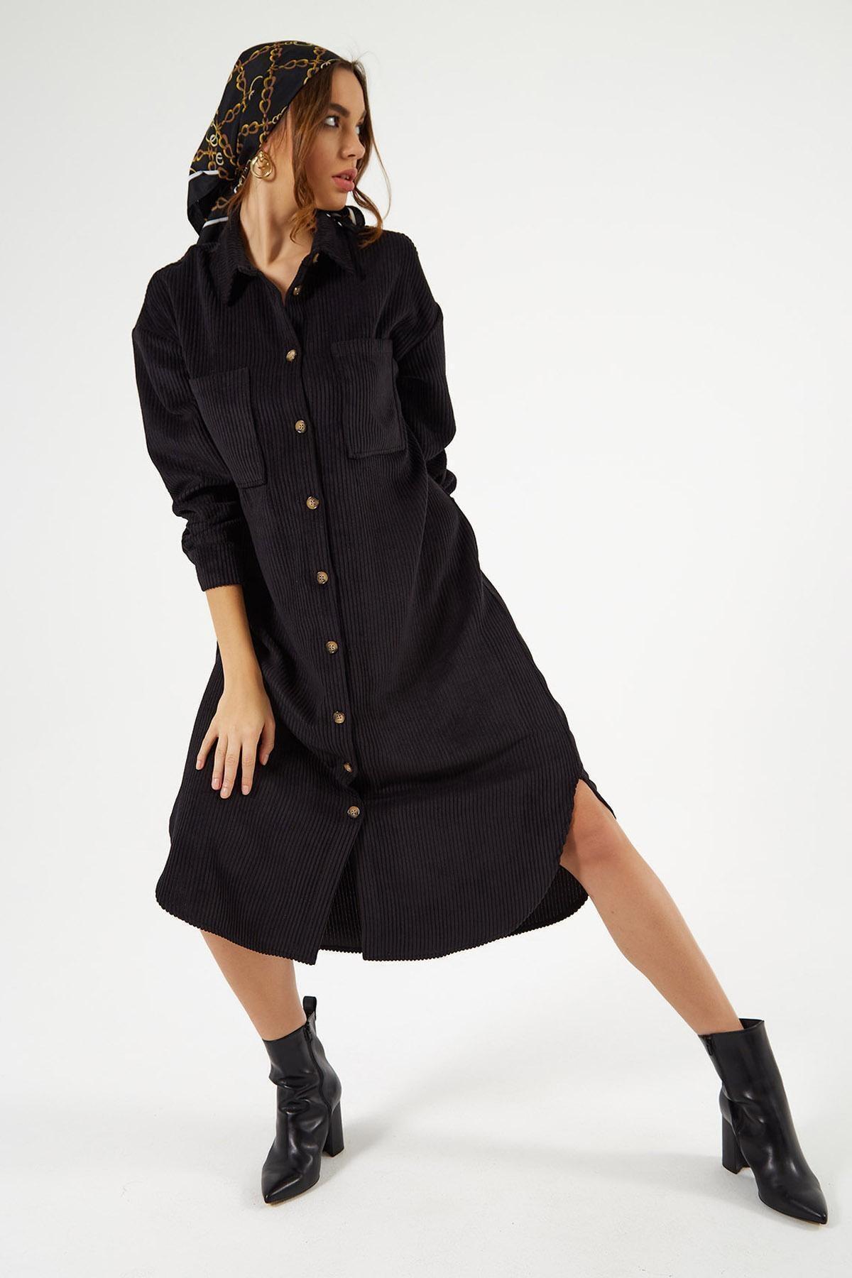 Pattaya Kadın Kadife Uzun Gömlek Elbise Y20w110-00665 2