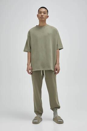 Pull & Bear Erkek Haki Basic Homewear Kapsül Koleksiyonu T-shirt