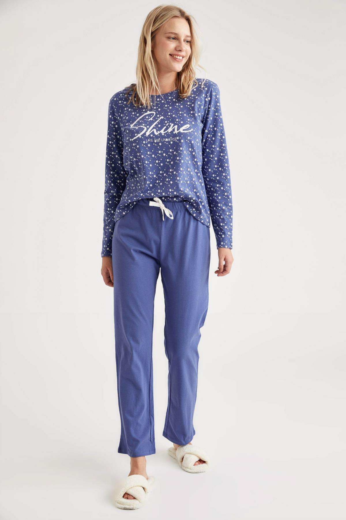 DeFacto Fit Kadın Indıgo Minimal Baskılı Uzun Kollu Pijama Takımı T1428AZ20WN 1