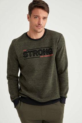 DeFacto Erkek Haki Strong Baskılı Bisiklet Yaka Regular Fit Sweatshirt