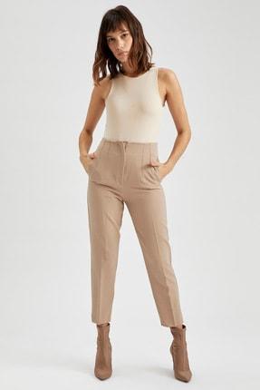 DeFacto Slim Fit Yüksek Bel Dokuma Pantolon