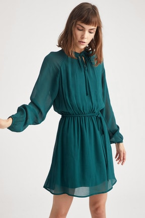 DeFacto Kadın Kuşak Detaylı Balon Kollu Dokuma Elbise