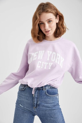 DeFacto Yazı Baskılı Kapüşonlu Beli Bağcıklı Crop Sweatshirt