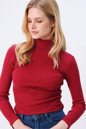 Trend Alaçatı Stili Kadın Vişne Balıkçı Yaka Basıc Fitilli Şardonlu Bluz ALC-X5420