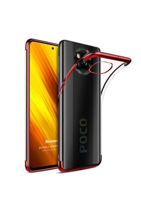 Microsonic Xiaomi Poco X3 Nfc Kılıf Skyfall Transparent Clear Kırmızı