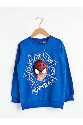 LC Waikiki Spiderman Erkek Çocuk Orta Mavi Juf Sweatshirt