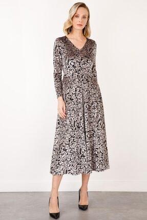 Ekol Kadın Gümüş V Yaka Desenli Kadife Elbise