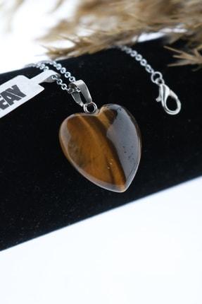 Seay Doğal Taş Kaplan Gözü Taşı Kalp Kadın Kolye Ucu (60cm Zincir Dahil)