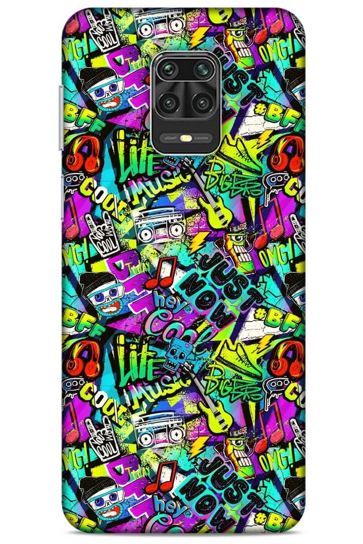 Lopard Graffitix (9) Desenli Silikon Kapak Xiaomi Redmi Note 9 Pro Kılıf 1