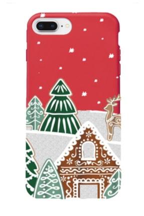Gritty Iphone 8 Plus Kış Evi Kırmızı Renkli Silikon Telefon Kılıfı