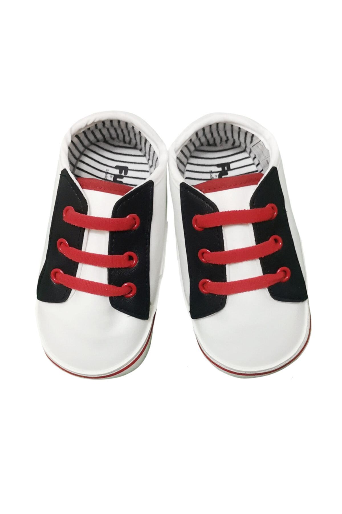 Funny Baby Unisex Bebek Kırmızı Premium Bağcıklı Suni Deri Patik Ayakkabı 2