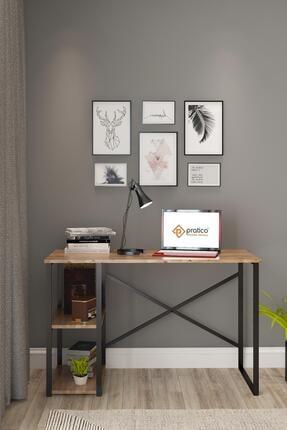 Pratico Kahverengi Metal Çalışma 2 Raflı Atlantik Çam Ofis Laptop Bilgisayar Masası 60x120