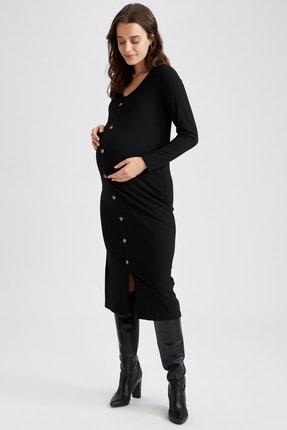 DeFacto Kadın Siyah V Yaka Düğme Detaylı Hamile Elbisesi