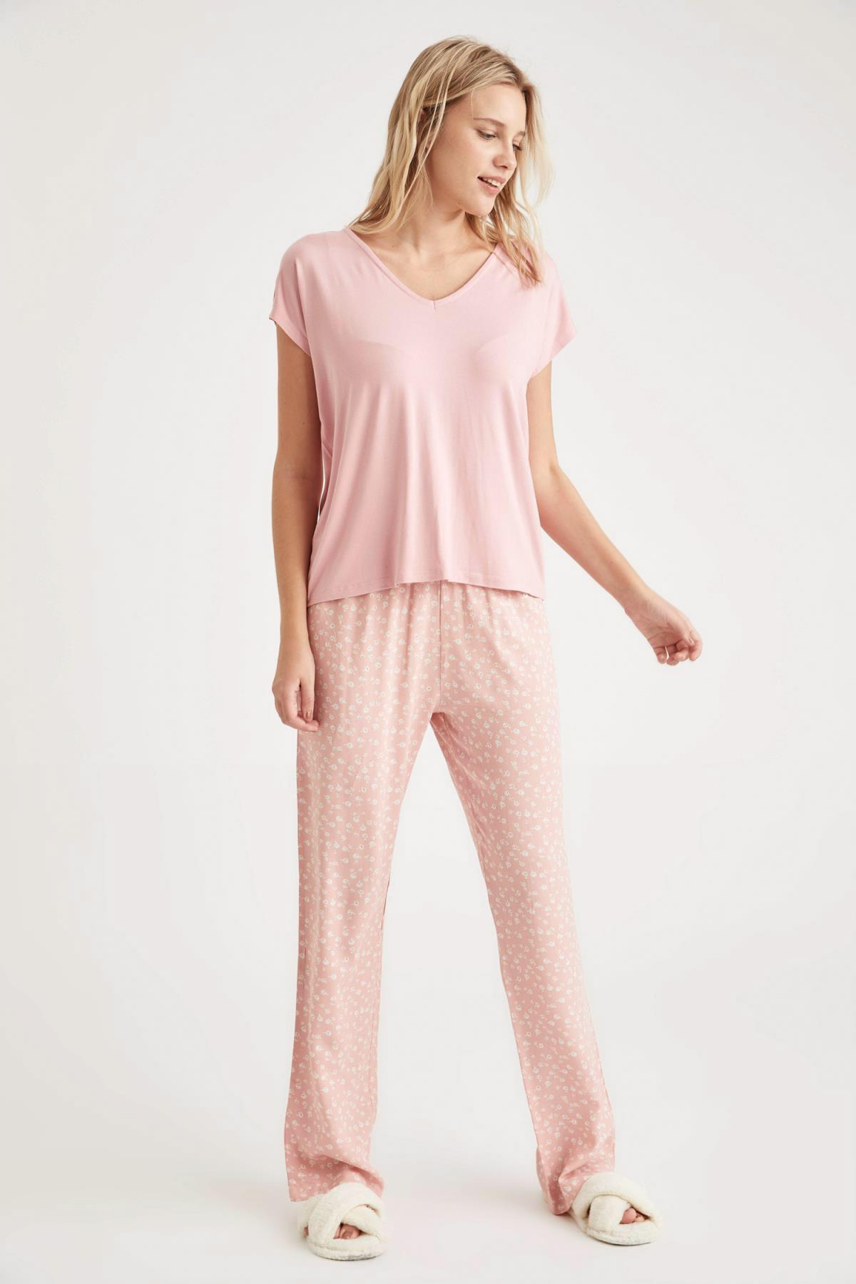 DeFacto Fit Kadın Pembe Basic Kruvaze Yaka Pijama Takımı 2