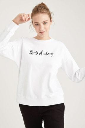 DeFacto Kadın Beyaz Gotik Yazı Baskılı Relax Fit Sweatshirt