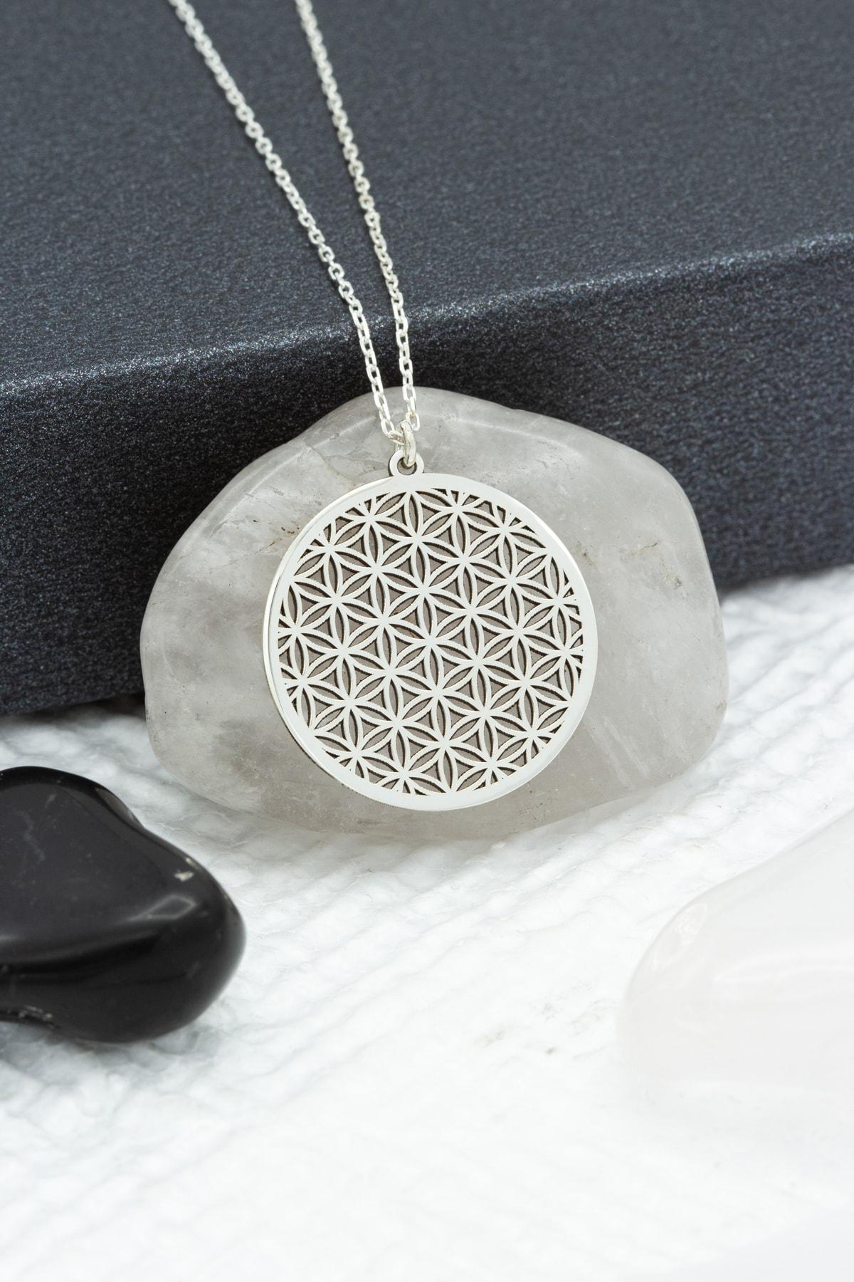 Dkmn Silver Kadın Yaşam Çiçeği Gümüş Kolye 1