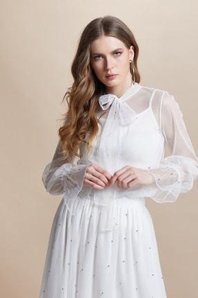 SERPİL Kadın Ekru Boncuk İşlemeli Bluz 29086