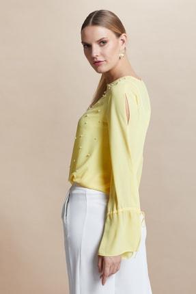 SERPİL Kadın Sarı İnci Çakmalı Bluz 28386