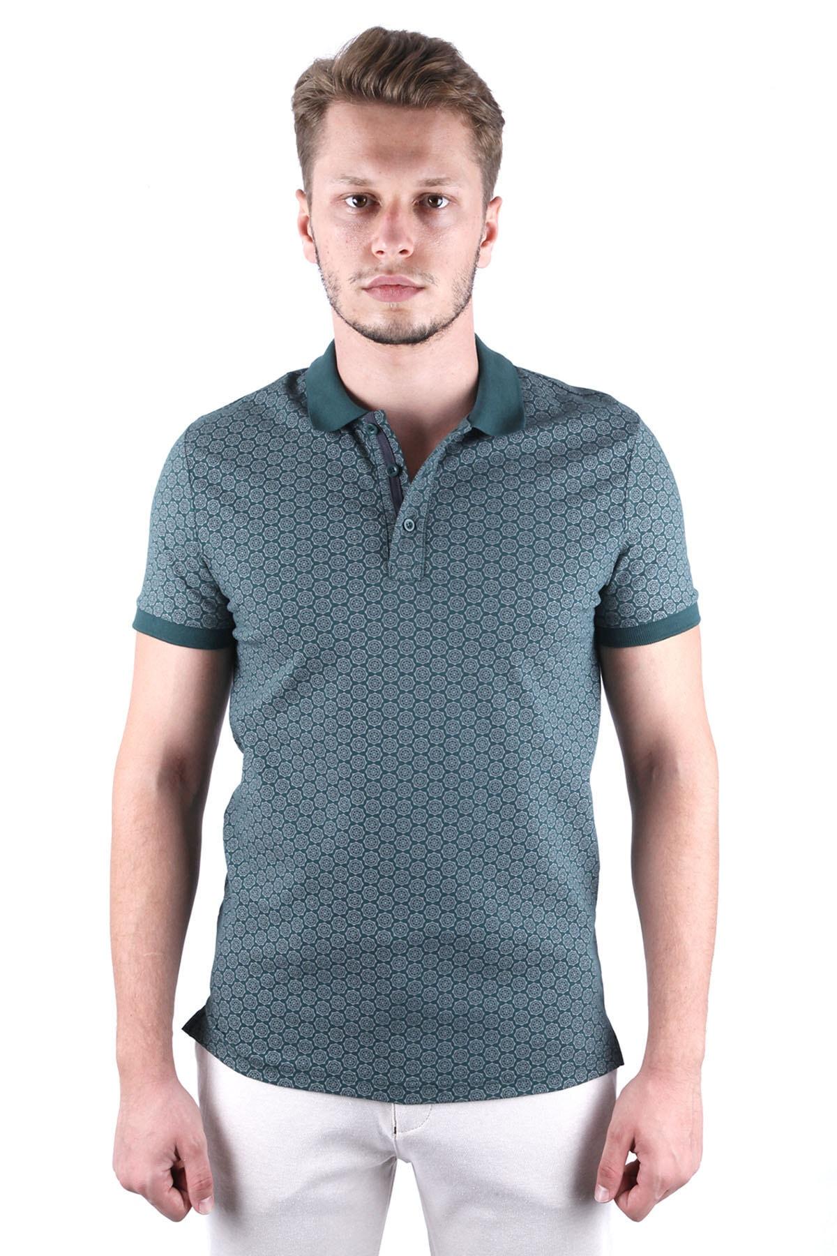 Canelia Erkek Koyu Yeşil Baskılı Likralı Pike Slimfit Polo Yaka  T-shirt 1
