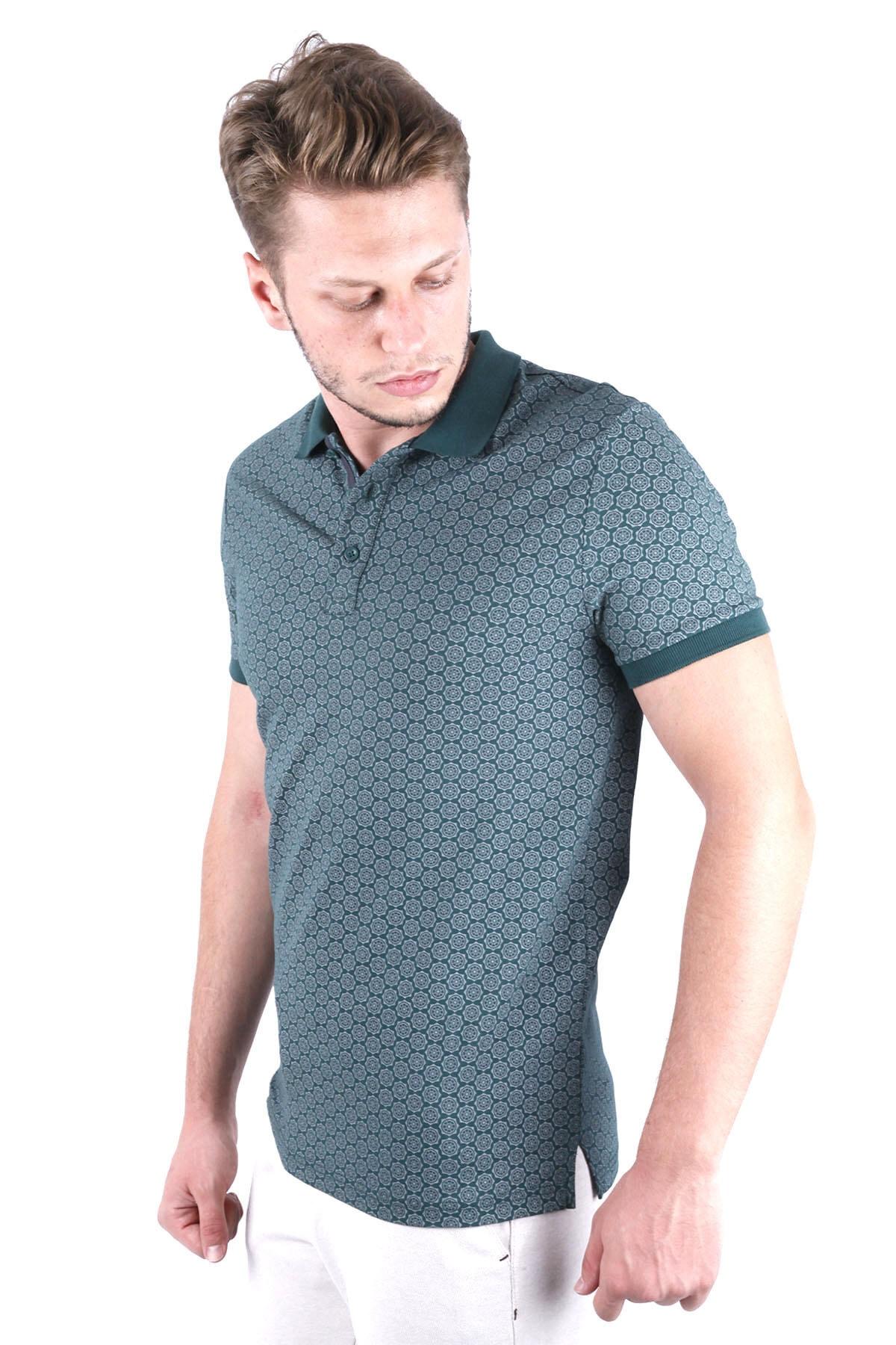 Canelia Erkek Koyu Yeşil Baskılı Likralı Pike Slimfit Polo Yaka  T-shirt 2