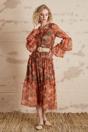 SERPİL Kadın Turuncu Floral Desenli Elbise 32268