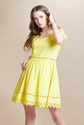 SERPİL Kadın Sarı Omuz Düşük Elbise 28181