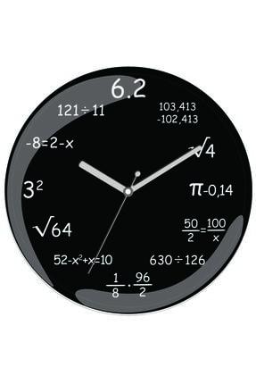 3M Matematik İşlemler Sessiz Bombeli Gerçek Cam Duvar Saati
