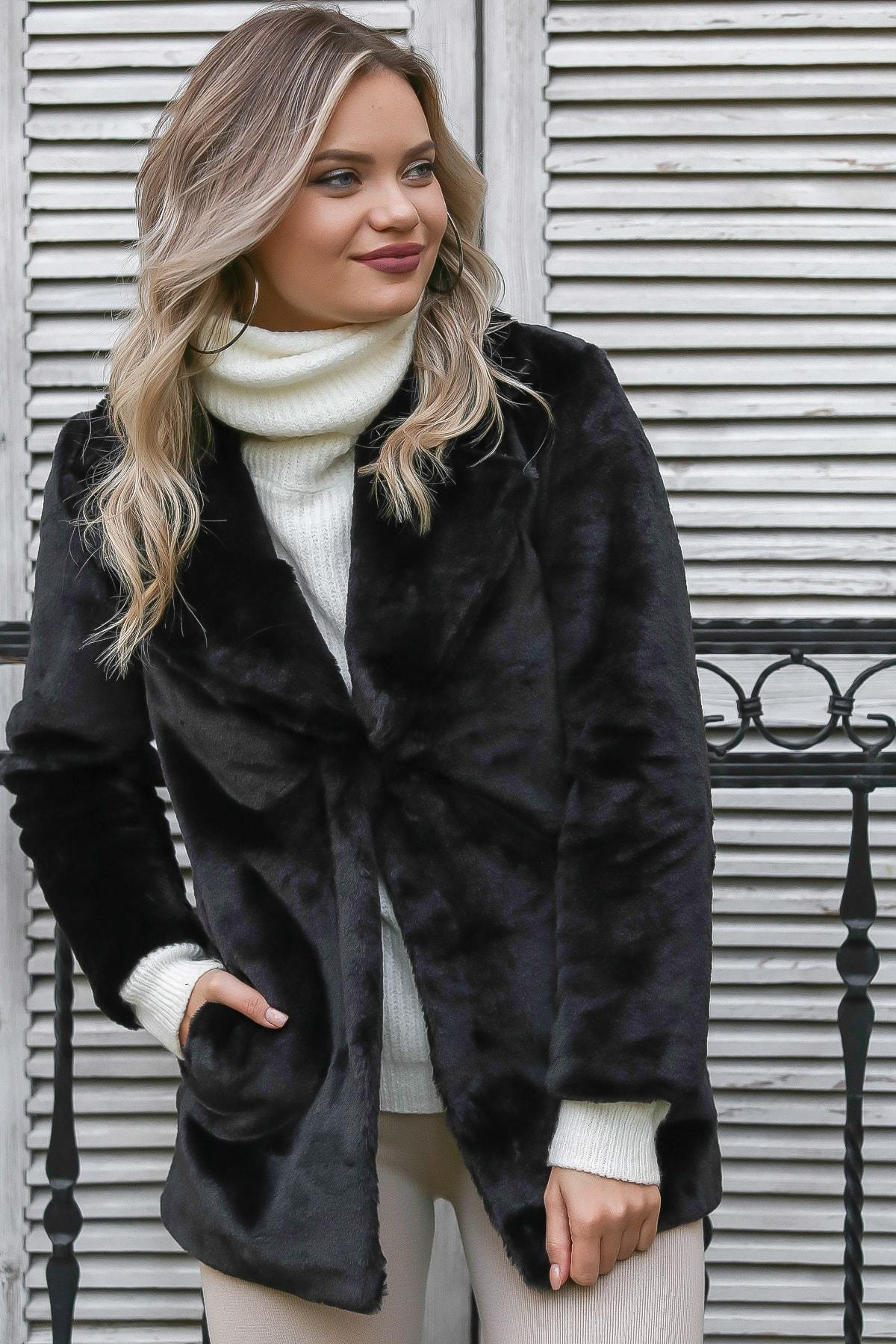 Chiccy Kadın Siyah Ceket Yaka Agraf Kapamalı Astarlı Pelüş Ceket M10210200KA99818