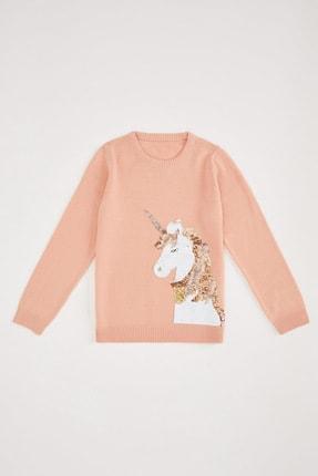 DeFacto Kız Çocuk Unicorn Pul Payet İşlemeli Uzun Kollu Triko Kazak