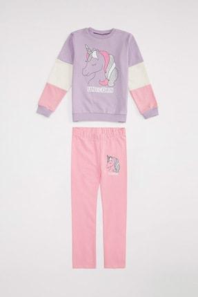 DeFacto Kadın Lt.Purple Kız Çocuk Unicorn Baskılı Sweatshirt Ve Tayt Takım R4291A620AU