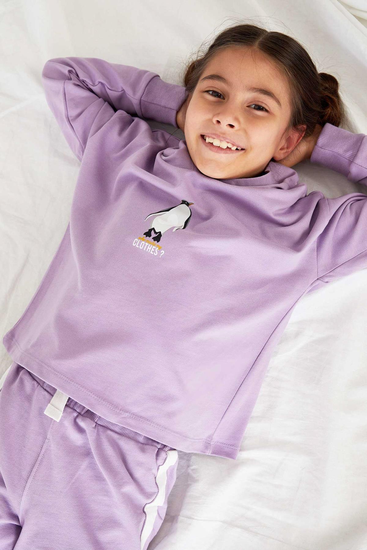 DeFacto Kız Çocuk Baskılı Kapüşonlu Organik Sweatshirt 1