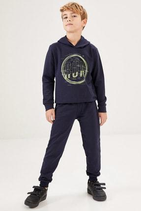 DeFacto Fit Erkek Çocuk Lacivert Baskılı Sweatshirt Ve Eşofman Takım