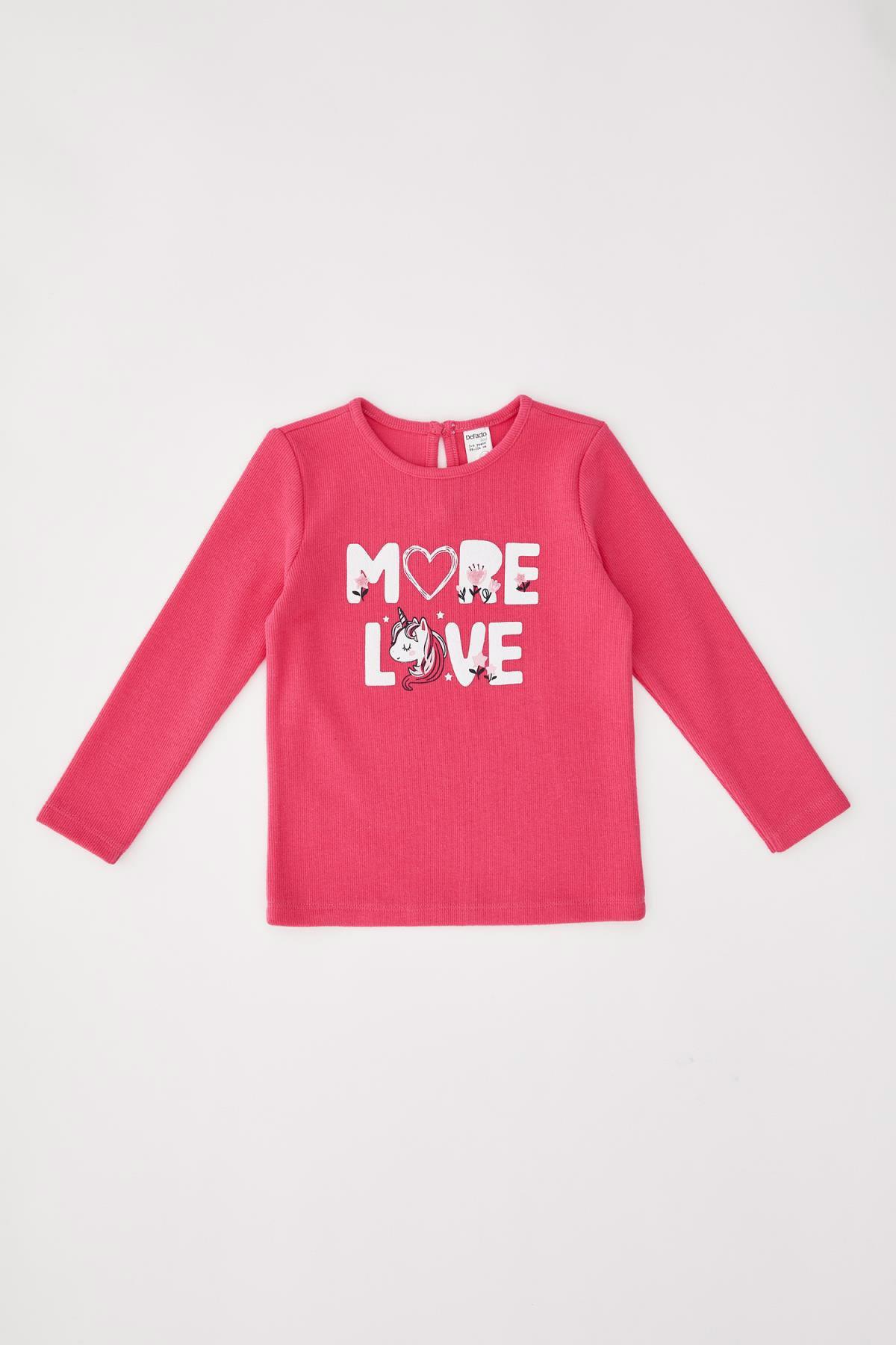 DeFacto Kız Bebek Pembe Baskılı Sweatshirt 1