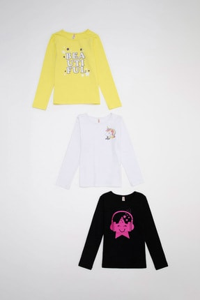 DeFacto Kız Çocuk Renkli Unicorn Baskılı 3'lü Tişört Takım
